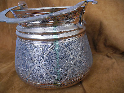Antique Islamic Arabic Persian Copper Pail or Handled Pot with intricate work 7