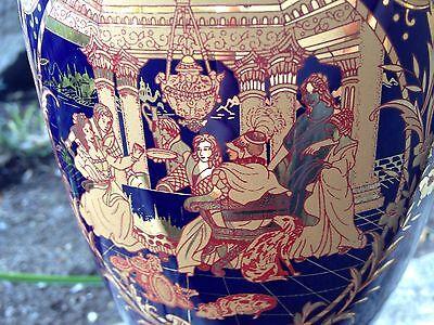 Rare Vintage Beautiful French Blue Glaze Gold Paint Porcelain Vase 20Th Century