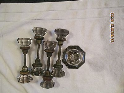 5 Pair / Sets Of Large Glass Knobs The Centers Are Sunken 2