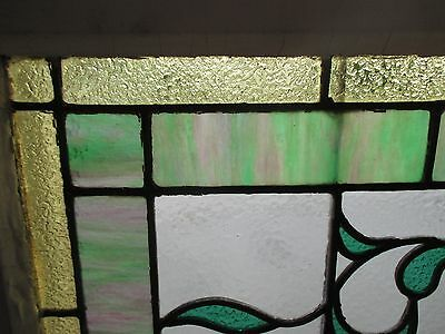 ~ ANTIQUE AMERICAN STAINED GLASS TRANSOM WINDOW 31.5x19.5 ARCHITECTURAL SALVAGE 4