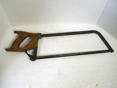 "Vintage Meat Bone Saw Butchers Cutting Tool Wood Handle 18"" Blade Man Cave Decor 5"