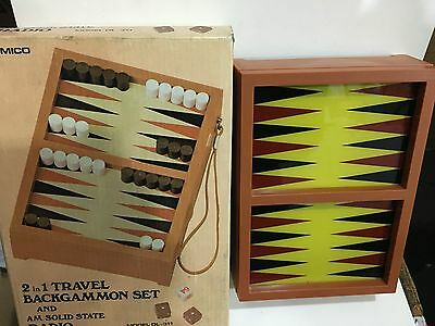 VINTAGE NOVELTY RADIO AM(MW)- BAND WITH BACKGAMMON GAME FROM 1970s NEW WITH BOX 5