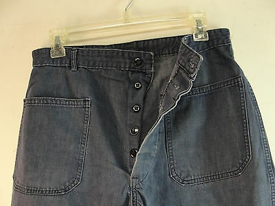 GENUINE WW2 US NAVY USN BLUE DENIM PANTS DUNGAREE TROUSERS WWII 29x28 VINTAGE 2