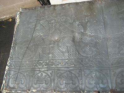 "GORGEOUS antique VICTORIAN tin ceiling pressed FLORAL fleur pattern 24.75"" x 48"" 8"