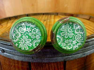 2 GREEN-WHITE LACE GLASS DRAWER CABINET PULLS KNOBS VINTAGE DISTRESSED hardware 2