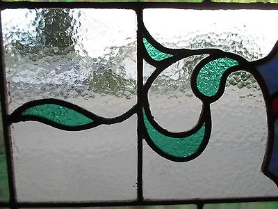 ~ ANTIQUE AMERICAN STAINED GLASS TRANSOM WINDOW 31.5x19.5 ARCHITECTURAL SALVAGE 5