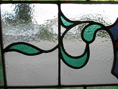 ~ ANTIQUE AMERICAN STAINED GLASS TRANSOM WINDOW 31.5x19.5 ARCHITECTURAL SALVAGE