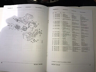 MS 200 T 200T MS200 Stihl Chainsaw Service Workshop Repair /& Parts List Manual