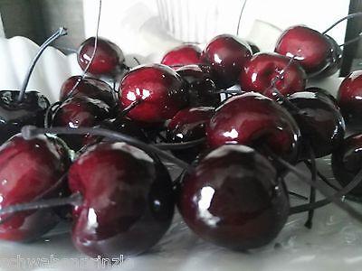 24 x Kirsche Früchte Attrappen Dekoration Kunstobst Dekofrüchte Cherry Draht 4