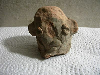 ANCIENT ARTIFACT HEAD Mexican 1000 +/-YRS OLD terra cotta Aztec inca 3