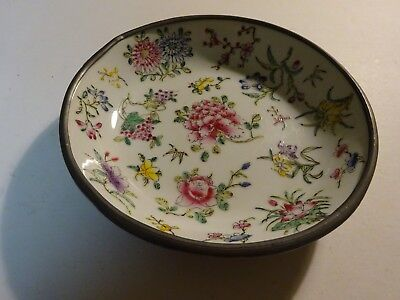 "Vintage YT Japanese Porcelain Wares Hong Kong Metal Cased Bowl Dish Flowers 8"" 2"