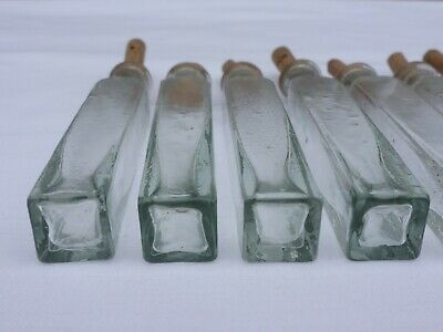 2 x alte kleine Medizin Glas Apotheke Apotheker Flasche grün lang ca. 9,5 cm 4