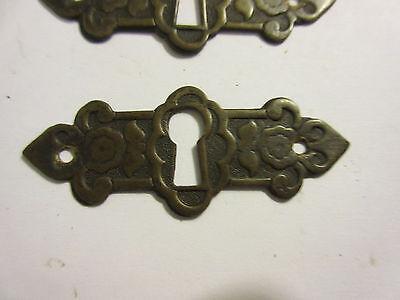 3 Antique Victorian Brass Hardware Drawer pulls Handles key escutcheon B 4
