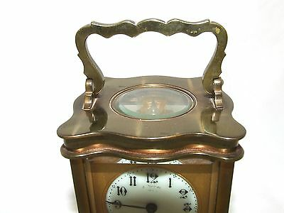 Antique French Bronzed Finish Brass Carriage Clock with Key : Working Order (31)