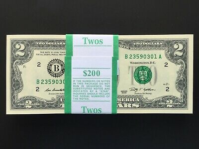 (1) $2 dollar bill ,consecutive ,Crisp,Gem ,Uncirculated 2