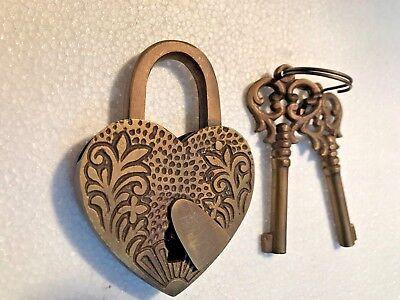 "HEART LOVE PADLOCK 3"" Vintage old stye 2 brass key lock engraved bridge heavy B 2"
