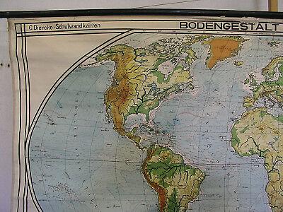 Schulwandkarte schöne alte Weltkarte Erdkarte 213x118cm vintage map von 1941 gut 2