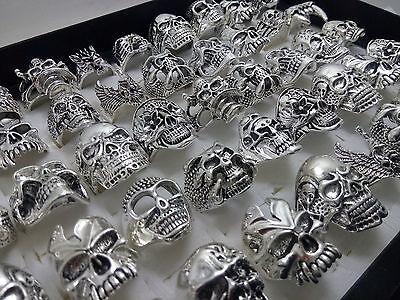 100 silver Skull ring punk alloy metal men's women rings wholesale jewelry