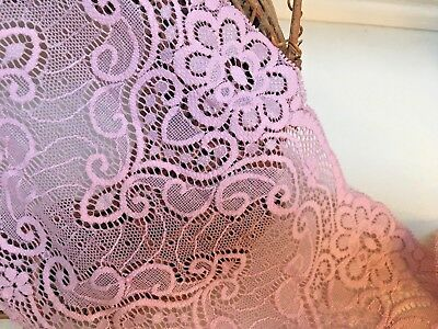 """laverslace Bright Rose Pink Narrow Stretch Lace Trim 2.5cm//1/"""" Sewing Crafts"""