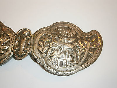 ANTIQUE OLD UNIQUE FOLKLORE SILVER BELT CLASP BUCKLE 19'c - Church /Bird /Sun 6