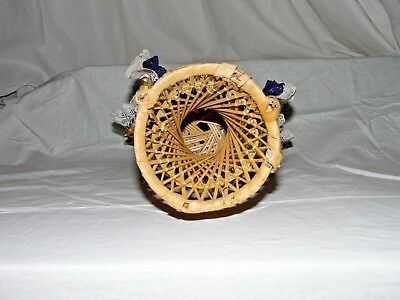 """Large 16"""" Peacock Style Wicker Rattan Chair Doll Furniture Purple & White Lace 9"""