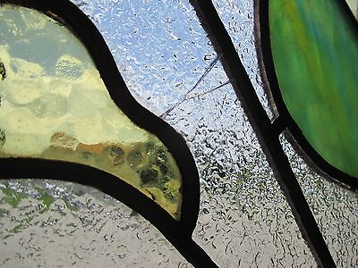 ~ ANTIQUE AMERICAN STAINED GLASS WINDOW 50.5 x 25 ~ ARCHITECTURAL SALVAGE ~ 5