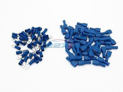 100x Blue Fully Insulated Spade Electrical Crimp Connectors- Audio / Electric 6