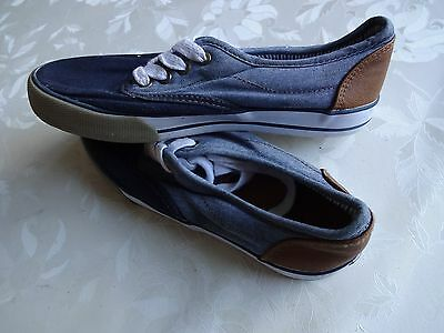 Tu Navy and Denim Lace-Up Pumps Size 2 2