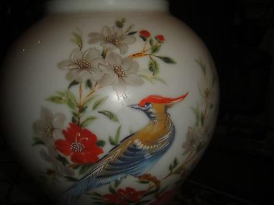 Superb Vintage Glass Lampshade-Painted Birds & Flowers-Bulbous Shape-Large-LQQK 10