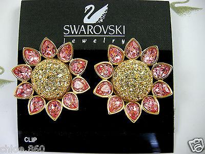 3 Of 12 Signed Swarovski Rose Crystal Sunflower Clip Earrings Retired Rare New