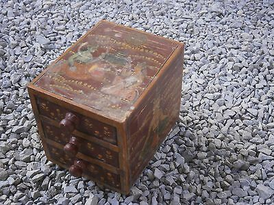 Antique Vintage Wooden Box Wiht Tree Drawers Beautiful Painting 2