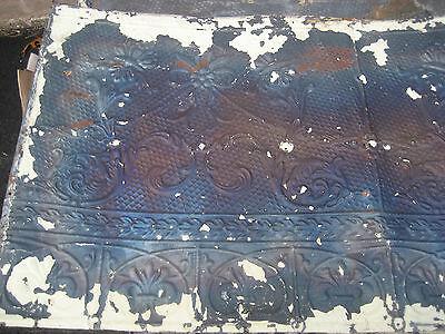 "GORGEOUS antique VICTORIAN tin ceiling pressed FLORAL fleur pattern 24.75"" x 48"" 5"