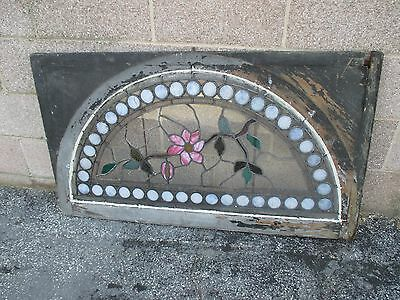 ~ GREAT ANTIQUE AMERICAN STAINED GLASS WINDOWS FLOWERS ~ 44 x 25 ~ SALVAGE 10