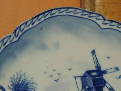 "Hand Painted 10"" Plate w/ Handles Delft? Blue & White Windmill Antique Vintage 3"