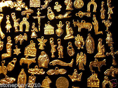 50 GOLD Import Mexican Milagros Shiny Good Luck Ex Votos Dijes Miracle Charms 2