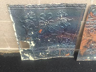 "GORGEOUS antique VICTORIAN tin ceiling pressed edge pattern 5- 24"" sq pcs AS IS 2"