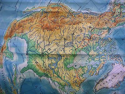 Schulwandkarte schöne alte Nördliche Erdhälfte Arktis 170x177c vintage map ~1957 3