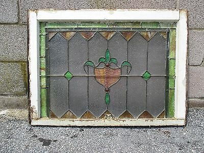 ~ ANTIQUE AMERICAN STAINED GLASS TRANSOM WINDOW 32 x 23.25 ARCHITECTURAL SALVAGE 9