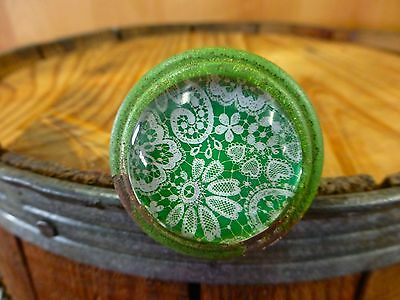 6 GREEN-WHITE LACE GLASS DRAWER CABINET PULLS KNOBS VINTAGE DISTRESSED hardware