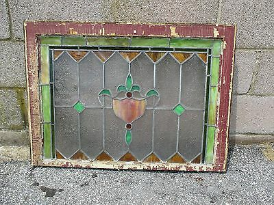 ~ ANTIQUE AMERICAN STAINED GLASS TRANSOM WINDOW 32 x 23.25 ARCHITECTURAL SALVAGE 8