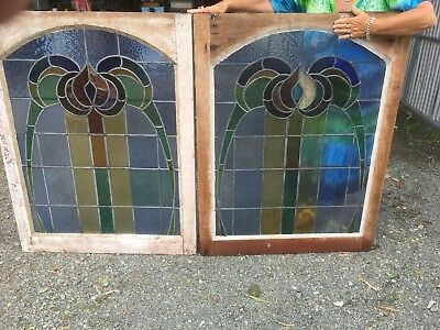 Old Leadlight Stained Glass Windows Australian Antique Fixed Panel 2