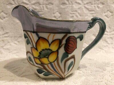 Vintage NORITAKE 1918; Green+Blue Lustreware Ceramic Hand-Painted-Floral Creamer 6