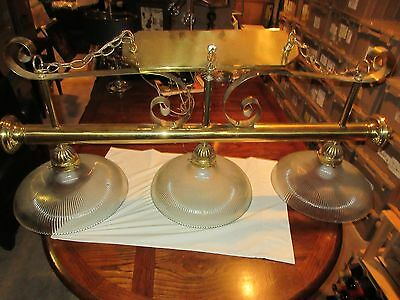 "Vintage Brass Billiard Chandelier Light Fixture 3 Lights with Glass Globes ,48"" 5"