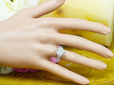 14K White Gold Round Forever One Moissanite and Diamond Engagement Ring 2.20ct 12