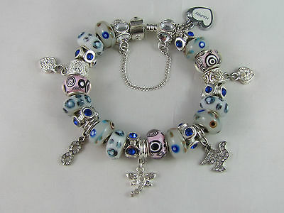 """SWEET 925 STAMPED SILVER 20cm EUROPEAN STYLE CHARM BRACELET """" MERRY PLAYGROUND """" 12"""