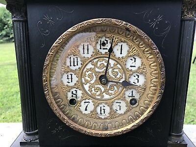Antique Stunning Sessions Mantle Clock 8 Day 1/2 Strike Cathedral Gong 6