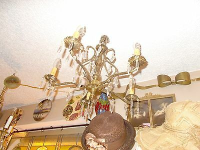 Antique Brass 5 Arm Crystal Prism Chandelier from Bay Area Architectural Salvage 2