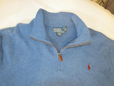 Polo Ralph Lauren 1/4 Maglione Zip T-Shirt Manica Lunga XXL 2XL da Uomo Blu EUC 3