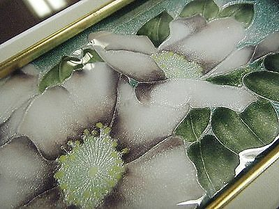 """Beautiful Framed Vintage Enamel / Guilloche On Silver Floral Plaque 16"""" X 11"""" 5"""