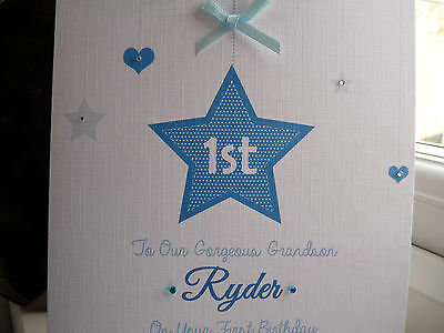 Feste Besondere Anlasse Mobel Wohnen Handmade Personalised 1st Birthday Card Son Grandson Boys 2